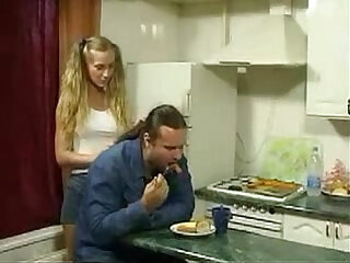 Daughter seduce old man in kitchen