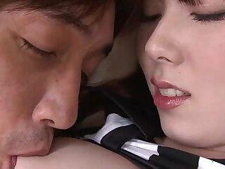 Huge ball shaped vibrator with nubs is used on Ramu Nagatsuki