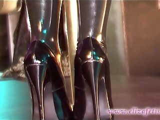 Latex stockings clad blonde in inch stiletto high heels